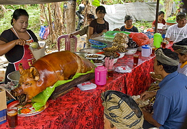 Babi guling (Balinese roast pork), Denpasar, Bali, Indonesia, Southeast Asia, Asia