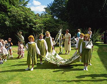Rushbearing ceremony, Grasmere, Cumbria, England, United Kingdom, Europe