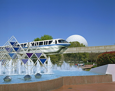 The Spaceship Earth Monorail, Journey into Imagination Fountain, and the geo-dome at the Epcot Centre, Orlando, Florida, United States of America, North America