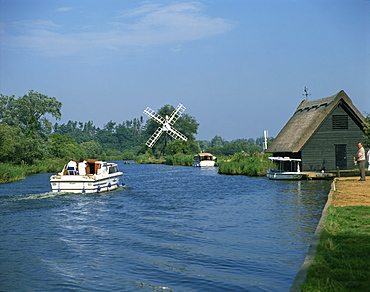 River Ant with How Hill Broadman's Mill, Norfolk Broads, Norfolk, England, United Kingdom, Europe