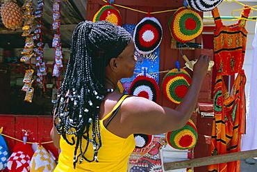 Rasta (Rastafarian) hats on display, Tobago, Trinidad and Tobago, West Indies, Caribbean, Central America