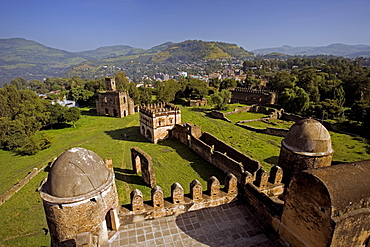 View over Gonder and the Royal Enclosure from the top of Fasiladas' Palace, Gonder, Gonder region, Ethiopia, Africa