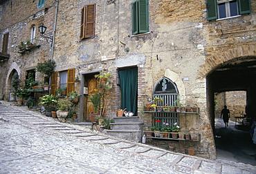 Street scene, Montefalco, Umbria, Italy, Europe