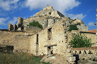 Castle used by Iberians, Romans, Moors and Christians, including El Cid and Ramon Cabrero, Morella, Castellon province, Valencia, Spain, Europe