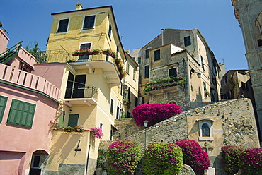 Houses in the Piazza San Giovanni in Cervo on the Italian Riviera, Liguria, Italy, Europe