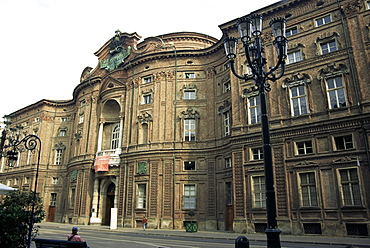 Palazzo Carignano, birthplace of Carlo Alberto, V. Emanuele II and meeting place of first Italian Parliament, Turin, Piedmont, Italy, Europe