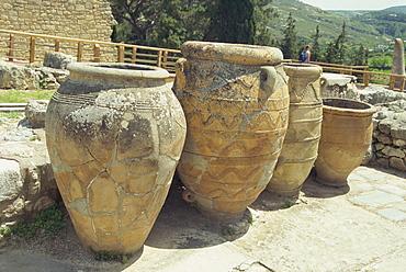 Large storage jars, Knossos, Crete, Greece, Europe