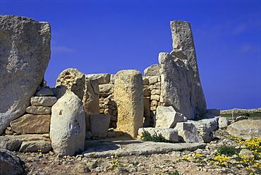 Megallithic temple dating from c. 3000 B.C., Hajar Qim (Hagar Qim), UNESCO World Heritage Site, Malta, Europe