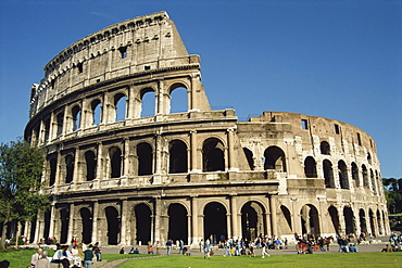 The exterior of the Colosseum in Rome, Lazio, Italy, Europe