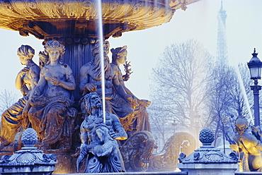 Fountain, Place de la Concorde, Paris, France, Europe