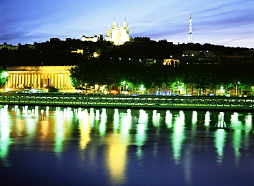Basilique Notre Dame de Fourviere, Tour Mettalique, River Saone, Lyon, Rhone, France, Europe