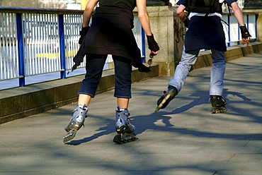 Roller skaters, Embankment, South Bank, London, England, United Kingdom, Europe