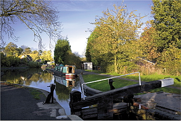 The junction of the Stratford and Grand Union Canals, Kingswood Junction, Lapworth, Warwickshire, Midlands, England, United Kingdom, Europe