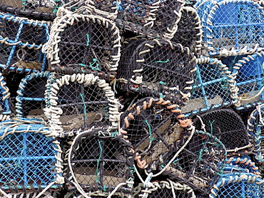 Lobster pots in the fishing harbour at Loguivy, Cote de Granit Rose, Cotes d'Armor, Brittany, France, Europe
