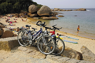 Bicycles, Tregastel, Cote de Granit Rose, Cotes d'Armor, Brittany, France, Europe
