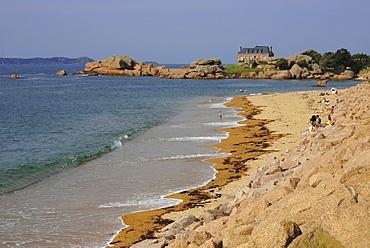 Beach, Tregastel, Cote de Granit Rose, Cotes d'Armor, Brittany, France, Europe