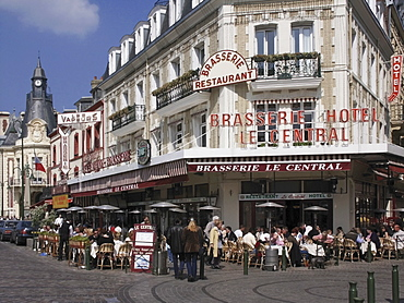 Open air pavement brasserie restaurant, Trouville, Calvados, Normandy, France, Europe