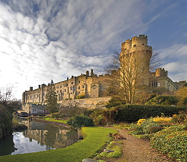 A view of Warwick Castle and the River Avon, Warwick, Warwickshire, England, United Kingdom, Europe