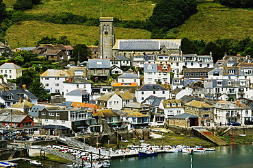 View of the Kingsbridge estuary, with harbour and boatyards, Salcombe, Devon, England, United Kingdom, Europe