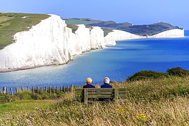 The chalk cliffs of the Seven Sisters from the South Downs Way, South Downs National Park, East Sussex, England, United Kingdom, Europe