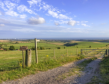 View from the South Downs Way footpath with Brighton in the distance, Sussex, England, United Kingdom, Europe