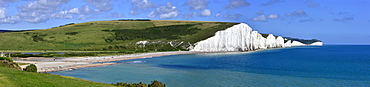 Cuckmere Haven and the Seven Sisters chalk cliffs, from the South Downs Way, East Sussex, England, United Kingdom, Europe