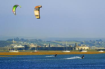 Kite surfing, Hurst Spit, Keyhaven, Hampshire, England, United Kingdom, Europe