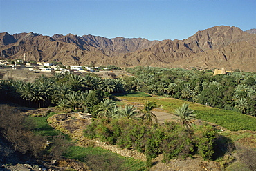 View over the oasis town of Bithnal, Arabian Mountains, United Arab Emirates, Middle East
