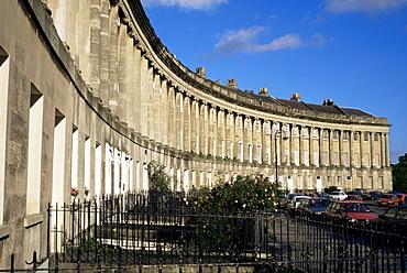 The Royal Crescent, Georgian terrace, UNESCO World Heritage Site, Bath, Avon, England, United Kingdom, Europe