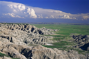 Gullies eroded into the Pierre shales below Loop Road, Sage Creek wilderness, Badlands National Park, South Dakota, United States of America, North America