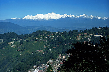 Kanchenjunga massif seen from Tiger Hill, Darjeeling, West Bengal state, India, Asia