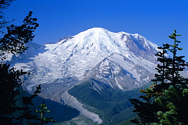 Mount Rainier, volcanic peak, and Emmons Glacier from summit icefield, Cascade Mountains, Washington State, United States of America (U.S.A.), North America