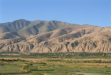 Yellow River loesslands, gullied and terraced hillsides, Gansu Province, China, Asia