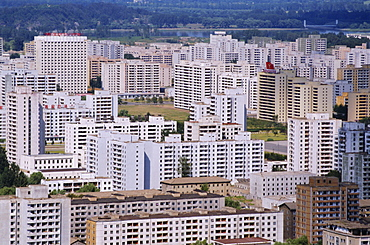 Aerial view of city skyline with blocks of flats rebuilt since 1950s war, Pyongyang, North Korea, Asia