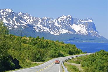 E6 coast highway, Kvaenangen Fjord, Finnmark, Norway, Scandinavia, Europe