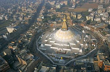 Aerial view of Boudhanath stupa, Kathmandu, Nepal, Asia