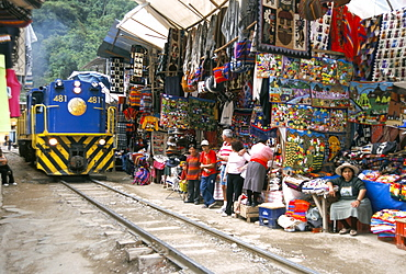 Aguas Calientes, tourist town below Inca ruins, built round railway, Machu Picchu, Peru, South America