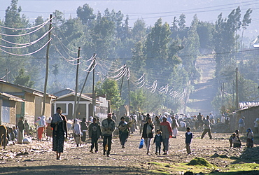 Back road in Goba, Southern Highlands, Ethiopia, Africa