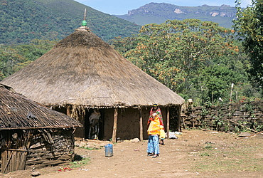 Traditional village house in Bale Mountains, Southern Highlands, Ethiopia, Africa