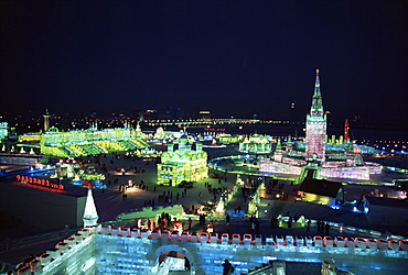Ice sculptures lit at night, Ice Lantern Festival, Bingdeng Jie, Harbin city, Heilongjiang, China, Asia