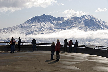 Mount St. Helens, with steam plume from rising dome within crater, seen from Johnston Ridge Visitor Centre, Washington state, United States of America, North America