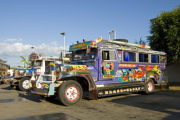 Typical painted jeepney (local bus), Urdaneta, northern Luzon, Philippines, Southeast Asia, Asia