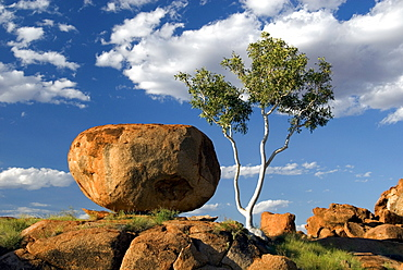 Devil's Marbles, the result of spheroidal weathering of strong granite beneath an ancient soil, Tennant Creek, Northern Territory, Australia, Pacific