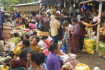 Monday market in Moni village, below Kelimutu volcano, eastern Flores, Nusa Tenggara, Indonesia, Southeast Asia, Asia