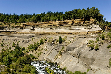 Volcaic ashes at Salto Truful, Volcan Llaima, Conguillio National Park, Lakes District, southern Chile, South America