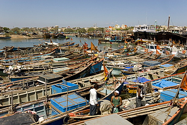 Fishing boat harbour, Porbander, Gujarat, India, Asia