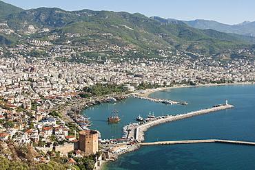 Harbour seen from Kale fortress, Alanya, southern Turkey, Anatolia, Turkey, Asia Minor, Eurasia