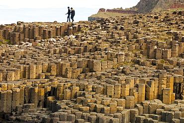 Columnar basalt lava at Giant's Causeway, UNESCO World Heritage Site, County Antrim, Northern Ireland, United Kingdom, Europe