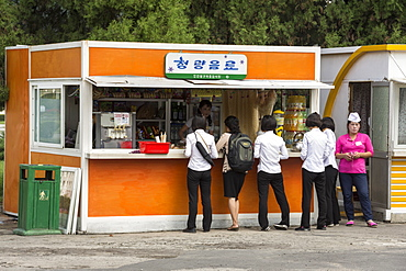 Snack kiosk in street in centre of Pyongyang, North Korea, Asia