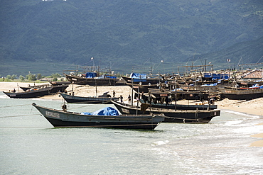 Fishing boats on beach at Yongbun, near Chongjin, Hamgyong Province, North Korea, Asia